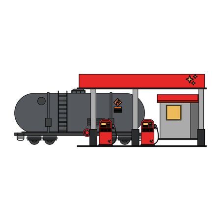 Fuel station with truck tank isolated vector illustration graphic design Foto de archivo - 129238106