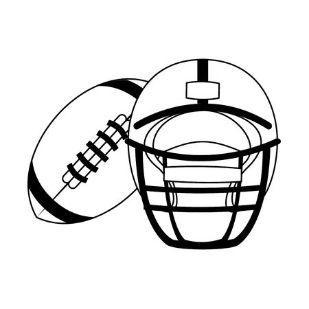 american football sport game helmet with ball cartoon vector illustration graphic design
