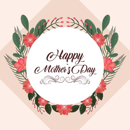 Happy mothers day pink card with flowers vector illustration graphic design Ilustracja