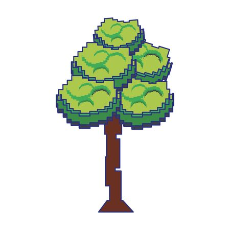 Retro videogame tree pixelated cartoon isolated vector illustration graphic design