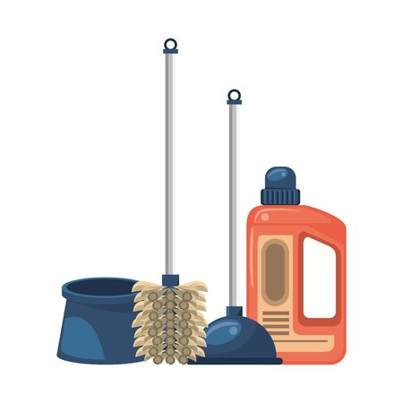 Cleaning equipment and products toilet brush and pump with soap bottle vector illustration graphic design.