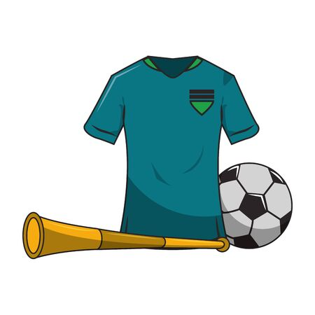 Soccer sport game tshirt ball and horn isolated vector illustration graphic design  イラスト・ベクター素材