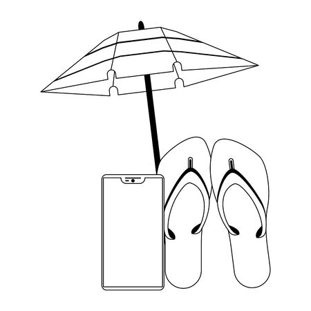 Summer flip flops umbrella and smartphone cartoons vector illustration graphic design Ilustracja
