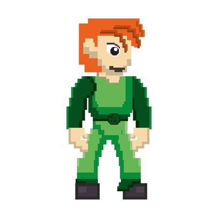 videogame pixelated retro art digital entertainment, arcade character isolated cartoon vector illustration graphic design Çizim
