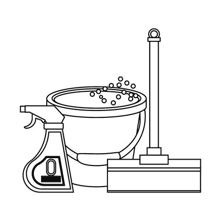 Cleaning equipment and products mop and disinfectant with water bucket vector illustration graphic design. Çizim