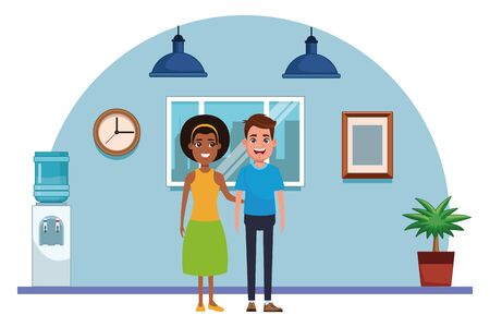 couple avatar brunette man smiling and afro american woman wearing bandana profile picture cartoon character portrait indoor with hanging lamps, window, plant pot, water dispenser and clock vector illustration graphic design