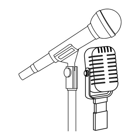microphone icon cartoon isolated black and white vector illustration graphic design