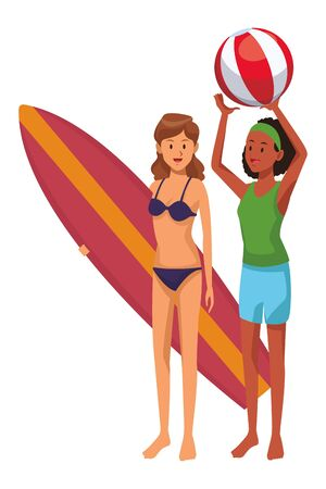 Women friends enjoying summer with surf and beach ball isolated vector illustration graphic design Ilustração