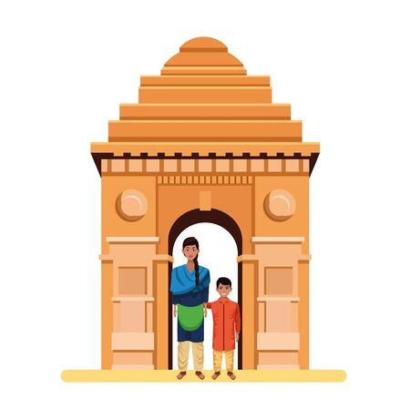 indian family woman with braid and indian monument gateway of india behind profile picture avatar cartoon character portrait vector illustration graphic design