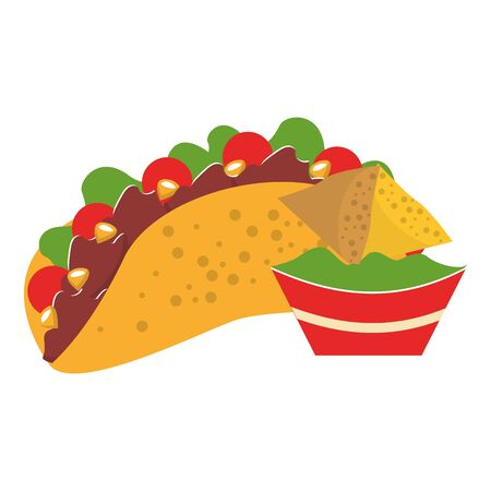 mexico culture and foods cartoons taco with plate on guacamole also nachos vector illustration graphic design