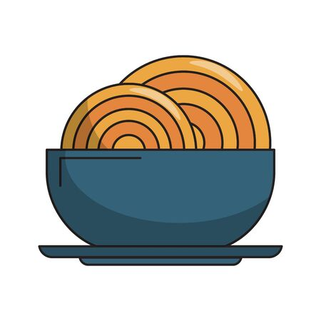 restaurant food and cuisine spaghetti on a bowl icon cartoons vector illustration graphic design