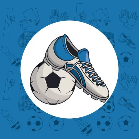 Soccer sport game equipment cartoons vector illustration graphic design Foto de archivo - 129240961
