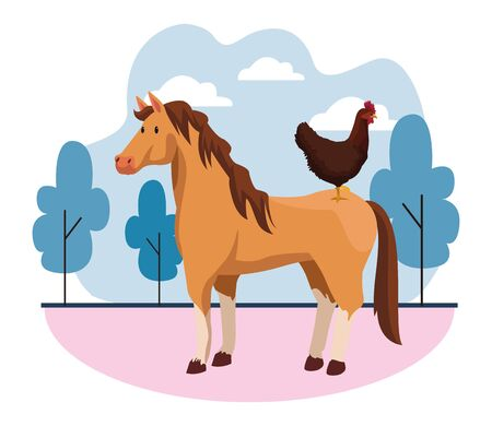 farm, animals and farmer hen over a horse icon cartoon over the grass with trees and clouds vector illustration graphic design