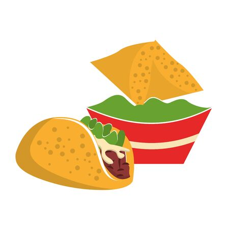 mexico culture and foods cartoons taco and guacamole plate on nachos vector illustration graphic design
