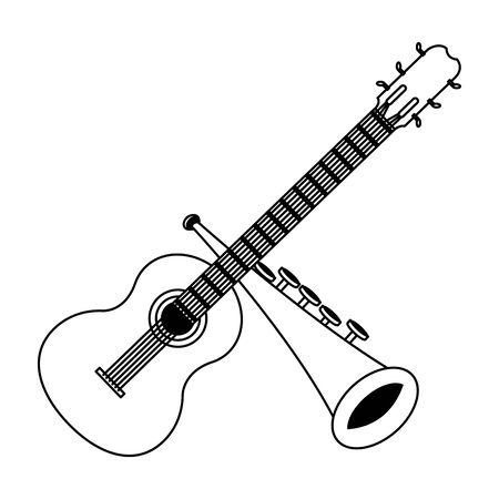 guitar and trumpet icon cartoon in black and white vector illustration graphic design