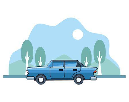 Vintage classic car vehicle sideview on nature landscape background ,vector illustration graphic design.
