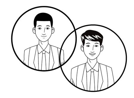 two businessmen wearing suit and smiling avatar cartoon character profile picture portrait in round icons black and white vector illustration graphic design