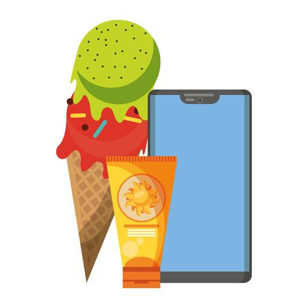 Smartphone and ice cream with sun bronzer cartoon vector illustration graphic design Иллюстрация