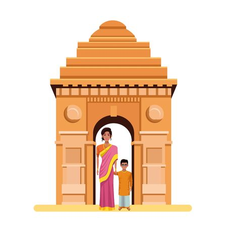 indian family woman with sari and jewelry with young boy and glasses and indian monument gateway of india behind profile picture avatar Ilustracja