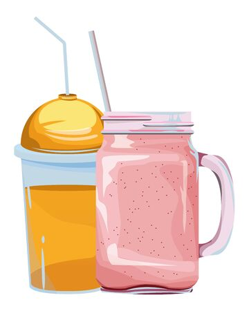 fruit tropical smoothie drink with dome lid, squared glass and straw icon cartoon vector illustration graphic design