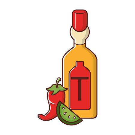 mexico culture and foods cartoons tequila bottle lemon cut and jalapeno vector illustration graphic design Ilustracja