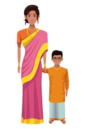 indian family woman with sari and jewelry with young boy and glasses profile picture avatar cartoon character portrait vector illustration graphic design