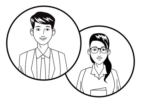 two business person woman wearing glasses and man smiling avatar cartoon character profile picture portrait in round icons black and white vector illustration graphic design 일러스트