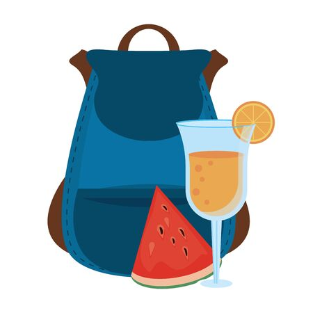 Summer and beach vacations backpack watermelon and cocktail cartoons vector illustration graphic design Zdjęcie Seryjne - 129255326