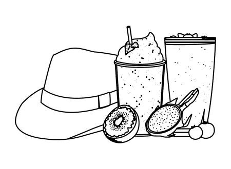 summer beach and vacation with tropical smoothie, kiwi, panama hat, pitahaya and bluberries icon cartoon in black and white vector illustration graphic design 일러스트