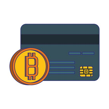 Bitcoin cryptocurrency credit card and coin symbols vector illustration graphic design Ilustrace