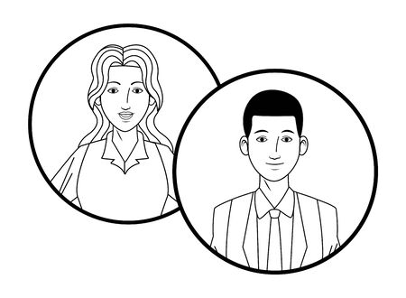 two business person avatar cartoon character profile picture portrait in round icons black and white vector illustration graphic design