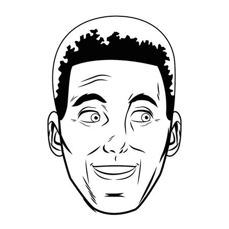 afro american man face avatar profile picture cartoon character portrait in black and white vector illustration graphic design