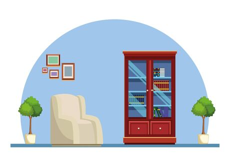 House wooden library with sofa furniture home building interior scenery ,vector illustration graphic design.