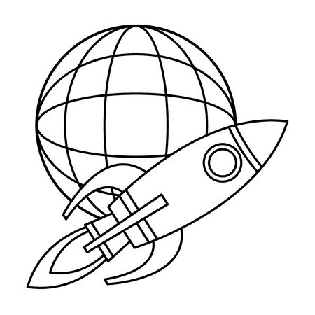 globe world sphere and rocket with fire in the back size icon cartoon in black and white vector illustration graphic design