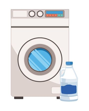 laundry wash and cleaning bleach and washing machine icon cartoon vector illustration graphic design