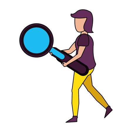 young woman holding magnifying glass cartoon vector illustration graphic design