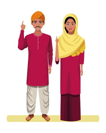 indian couple wearing traditional hindu clothes man with moustache and turban and woman with sari and hiyab profile picture avatar cartoon Stok Fotoğraf - 129255416