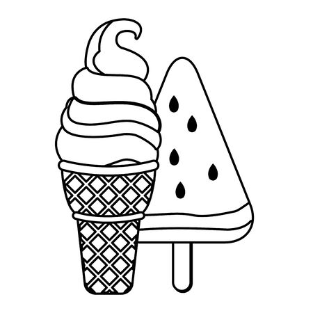 ice cream with wafer cookie cone and fruit ice cream icon cartoon  in black and white vector illustration graphic design