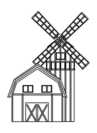 farm, animals and farmer barn and windmill icon cartoon in black and white vector illustration graphic design Çizim
