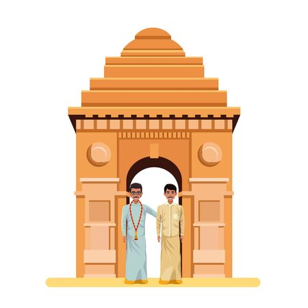 indian men wearing traditional indian clothes man with moustache man with moustache and glasses and indian monument gateway Stok Fotoğraf - 129255492