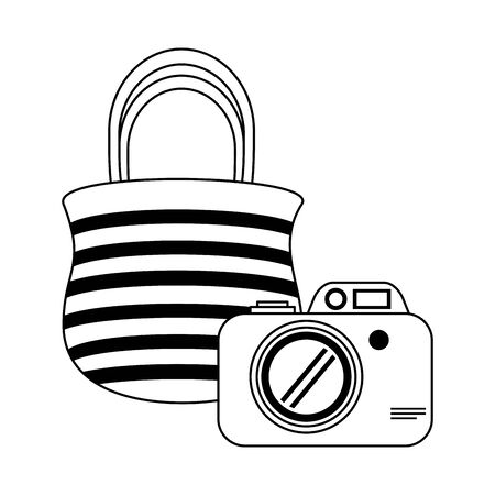 Photographic camera and bag cartoon isolated vector illustration graphic design Ilustracja
