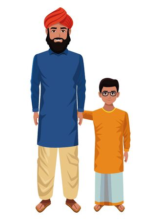 indian family man with beard and turban with young boy and glasses profile picture avatar cartoon character portrait vector illustration graphic design Stok Fotoğraf - 129255487