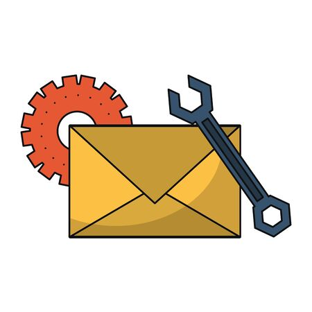 Email technical support wrench and gear symbols isolated vector illustration graphic design