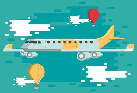 Travel airplane jet and hot air balloons flying on blue background vector illustration graphic design