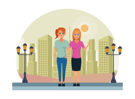 Young women friends smiling and greeting with formal clothes in the city urban scenery background ,vector illustration graphic design. Illusztráció