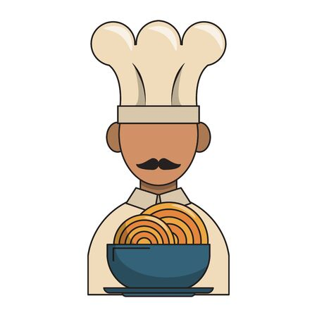 restaurant food and cuisine chef avatar and a bowl with spaguetti icon cartoons vector illustration graphic design