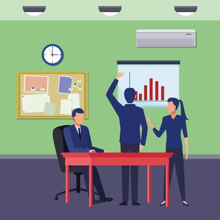 business people businessman back view pointing a data chart, businessman sitting on a desk and businesswoman holding a wand pointing a data chart avatar cartoon character indoor with lamp, clock, air conditioning and work board vector illustration graphic design