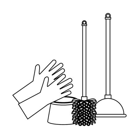 Cleaning equipment and products gloves with toilet brush and pump vector illustration graphic design. Stock Illustratie