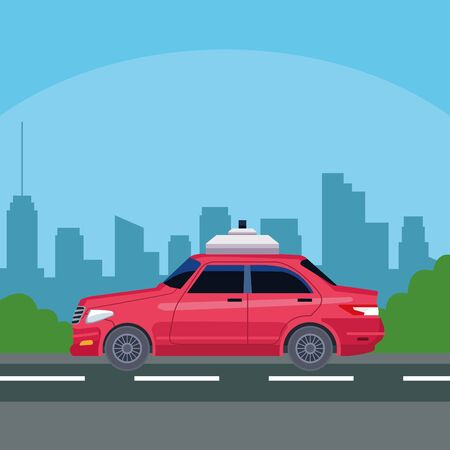 car over street in cityscape silhouette icon cartoon vector illustration graphic design Çizim