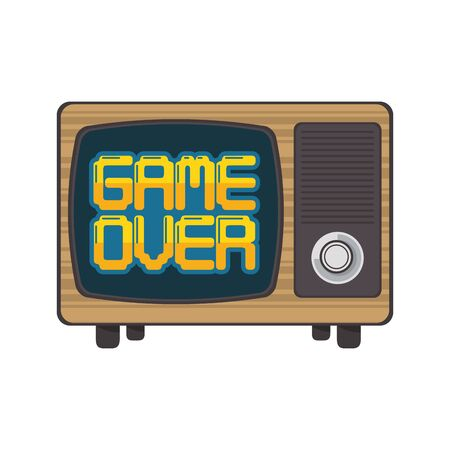 Retro videogame game over on tv screen vector illustration graphic design